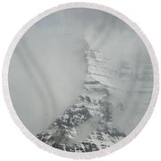 Mount Robson In The Clouds Round Beach Towel