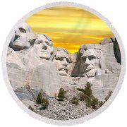 Mount Rushmore 11 Digital Art Round Beach Towel