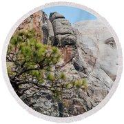 Mount Rushmore George Washington Landscape Round Beach Towel