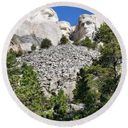 Mount Rushmore II Round Beach Towel