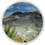 Mount Saint Helens Caldera Round Beach Towel