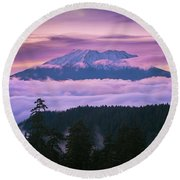Mount Saint Helens Sunset Round Beach Towel