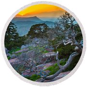 Mount Scott Sunset Round Beach Towel