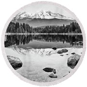 Mount Shasta From Lake Siskiyou In California Round Beach Towel