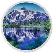 Mount Shuksan And Picture Lake Round Beach Towel