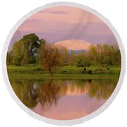 Mount St Helens Reflection During Sunset Round Beach Towel