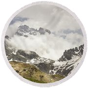 Mount Viso In The Clouds Round Beach Towel