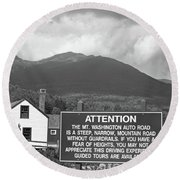 Mount Washington Nh Warning Sign Black And White Round Beach Towel