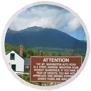 Mount Washington Nh Warning Sign Round Beach Towel