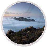Mount Woodson Above Clouds Round Beach Towel