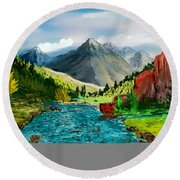 Mountaian Scene Round Beach Towel