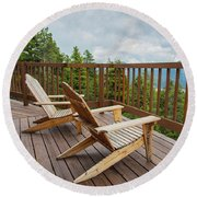 Mountain Adirondack Chairs Round Beach Towel