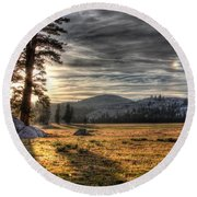 Mountain Afternoon Round Beach Towel