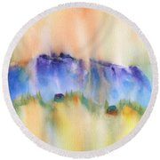 Mountain And Hill Abstract Round Beach Towel