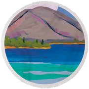 Mountain And Pines Round Beach Towel