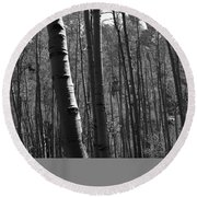 Mountain Aspens Round Beach Towel