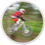 Mountain Bike Rider Round Beach Towel