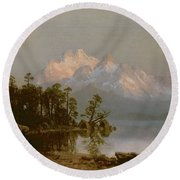 Mountain Canoeing Round Beach Towel