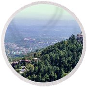 Mountain City Dharamshala Round Beach Towel