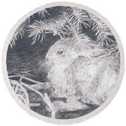 Mountain Cottontail Round Beach Towel