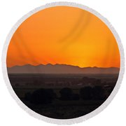 Mountain-country Sunset Round Beach Towel
