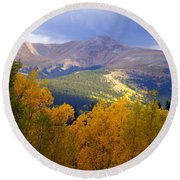 Mountain Fall Round Beach Towel
