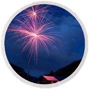Mountain Fireworks Landscape Round Beach Towel