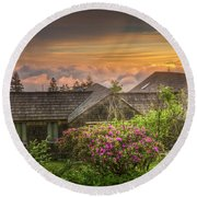 Mountain Flowers At Sunrise Round Beach Towel