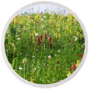 Mountain Flowers Round Beach Towel