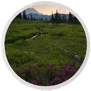 Mountain Heather Sunset Round Beach Towel