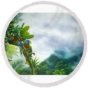 Mountain High - St. Lucia Parrots Round Beach Towel