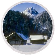 Mountain Huts 3 Round Beach Towel
