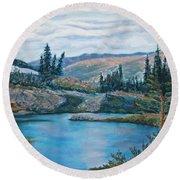 Mountain Lake Round Beach Towel