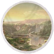 Mountain Lake Near Piedmont Round Beach Towel