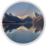 Mountain Lake Reflection Round Beach Towel