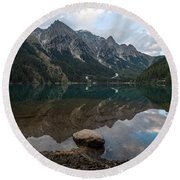 Mountain Lake Reflection Round Beach Towel