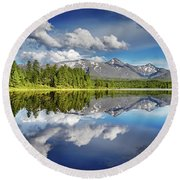 Mountain Lake With Reflection Round Beach Towel