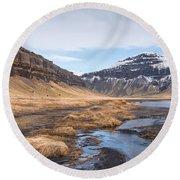 Mountain Landscape Iceland Round Beach Towel
