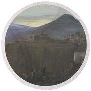 Mountain Landscape In Taormina, Sicily, Italy, Bramine Hubrecht, 1865 - 1913 Round Beach Towel