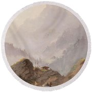 Mountain Landscape In Tirol With Chamois, Johannes Tavenraat, C. 1858 Round Beach Towel