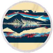 Mountain  Landscape Poster Round Beach Towel