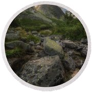 Mountain Landscape With A Creek Round Beach Towel