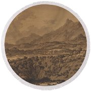 Mountain Landscape With A Hollow Round Beach Towel