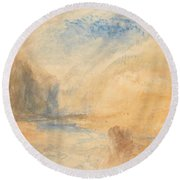 Mountain Landscape With Lake Round Beach Towel