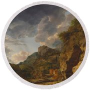 Mountain Landscape With River And Wagon Round Beach Towel