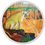 Mountain Lion In Thought Round Beach Towel