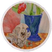 Mountain Lion Skull Tea And Tulips Round Beach Towel
