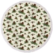 Mountain Lodge Cabin In The Forest - Home Decor Pine Cones Round Beach Towel