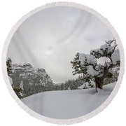 Mountain Lonely Tree Round Beach Towel
