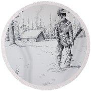 Mountain Man Round Beach Towel
